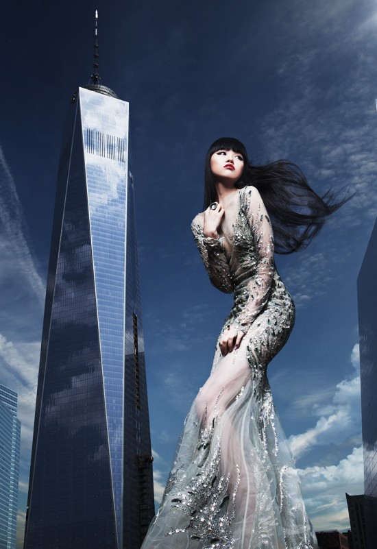 Jessica Minh Anh Fashion Show in front of the One World Trade Center in New York.