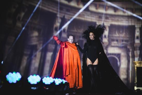 Carmen Carrera in the Lanvin fashion show with Ben Becker @ Life Ball 2014