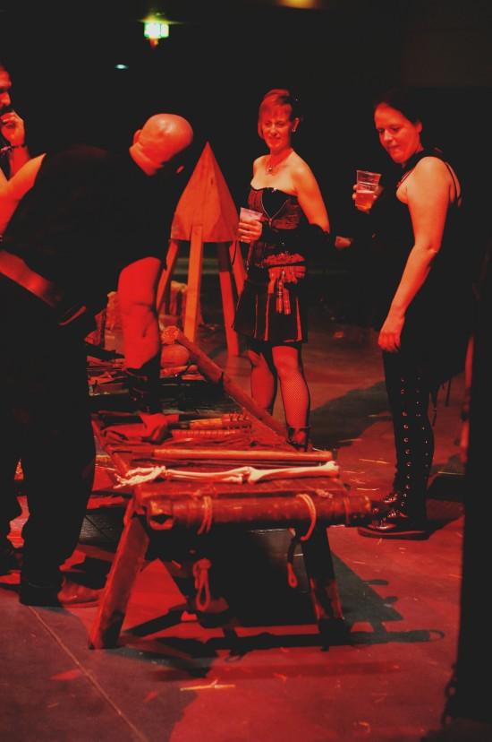 Judas cradle in the background. Medieval Torture Show. Die Henker @ Mittelalterspektakel 2014 St. Pölten