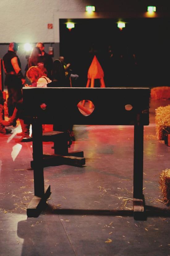 Pillory torture. Medieval Torture Show. Die Henker @ Mittelalterspektakel 2014 St. Pölten