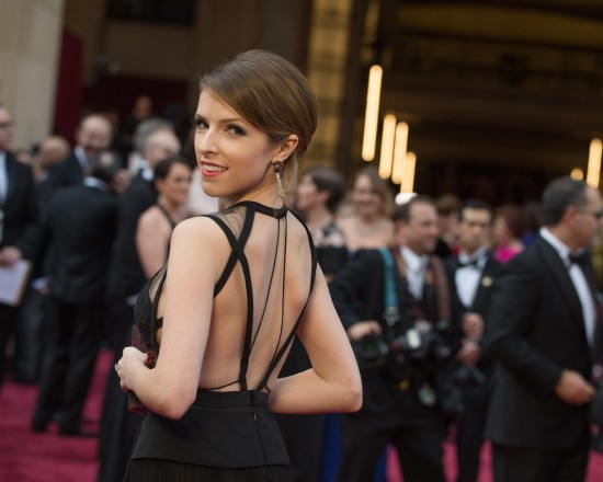 Anna Kendrick wearing a black dress by J. Mendel @ Oscars 2014