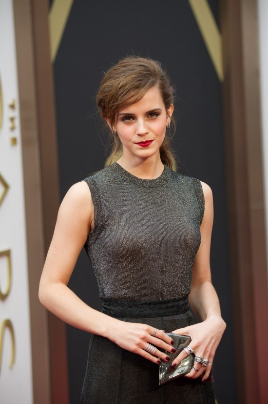 Emma Watson wearing a shimmering dress by Vera Wang @ Oscars 2014