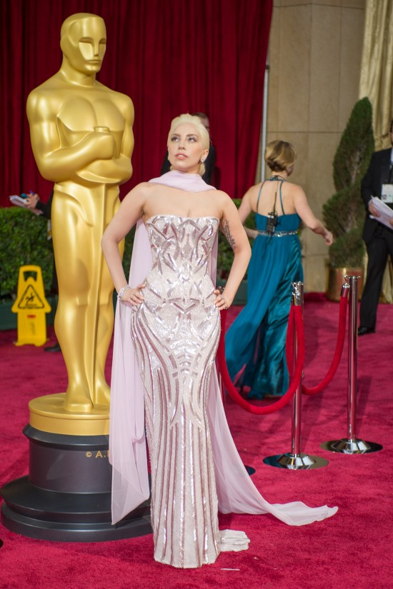 Lady Gaga in a lilac sequined gown by Versace @ Oscars 2014