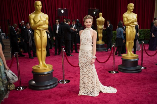Portia De Rossi wearing a white halter dress by Naeem Kahn @ Oscars 2014
