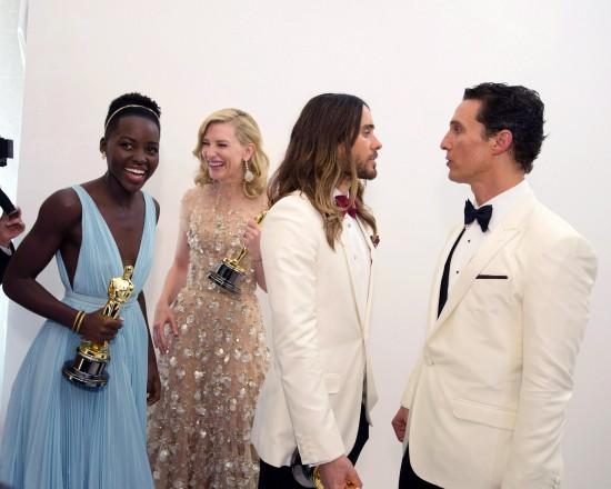 Lupita Nyong'o, Cate Blanchett, Jared Leto, and Matthew McConaughey @ Oscars 2014