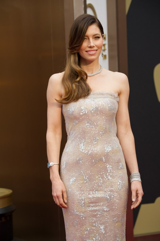 Jessica Biel wearing a strapless sequined dress by Chanel Couture @ Oscars 2014