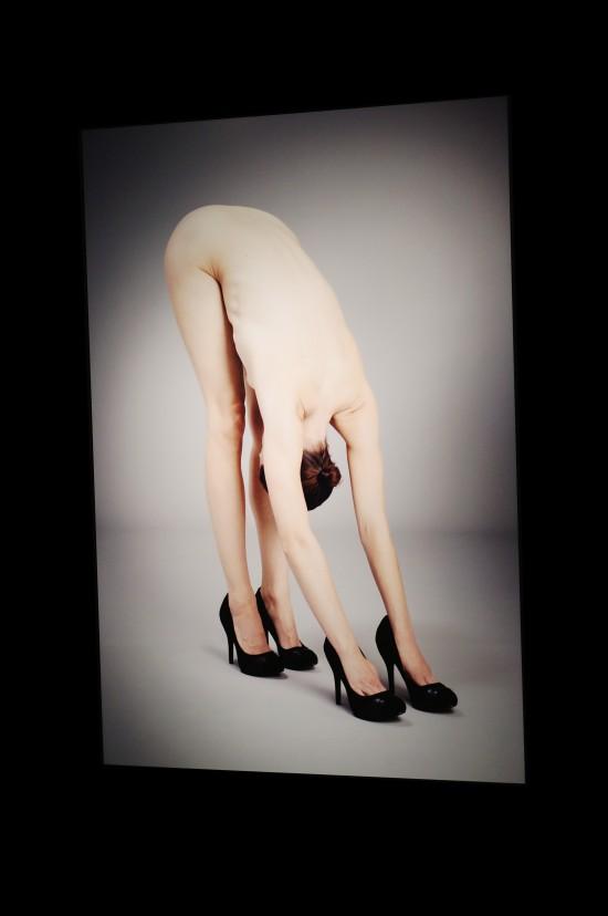 """Photo """"Yoga in Heels"""" by Krista van der Niet @ SHOEting Stars shoe exhibition Kunst Haus Wien"""