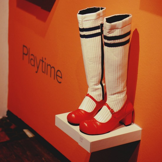 Playtime Stockings red shoes by Shani Bar @ SHOEting Stars shoe exhibition Kunst Haus Wien
