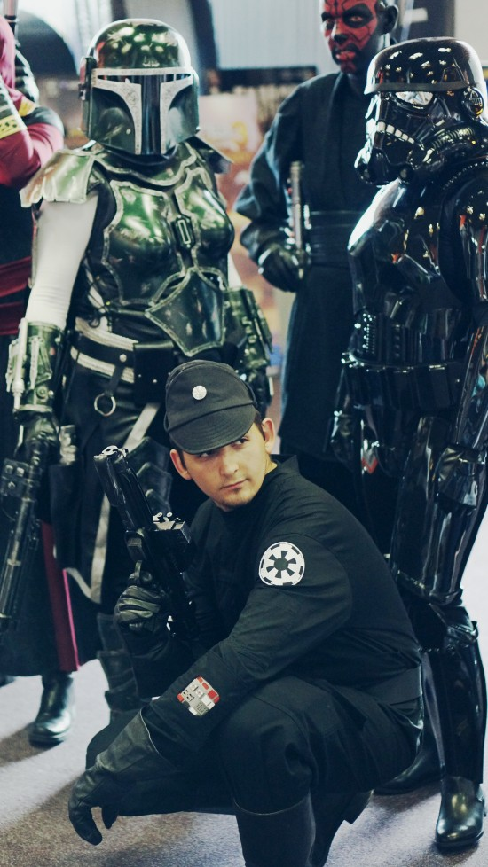 Star Wars Female Stormtroopers, Darth Maul, and Imperial Officer cosplay @ Comics Salon 2014