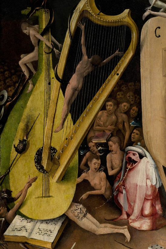 The Garden of Earthly Delights by Hieronymus Bosch: Hellscape and Divine Punishment, nudes, harp, and musical notes on bottom