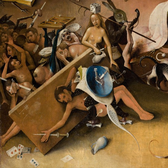 The Garden of Earthly Delights by Hieronymus Bosch. Hellscape and Divine Punishment, table, knifes, dices and cards