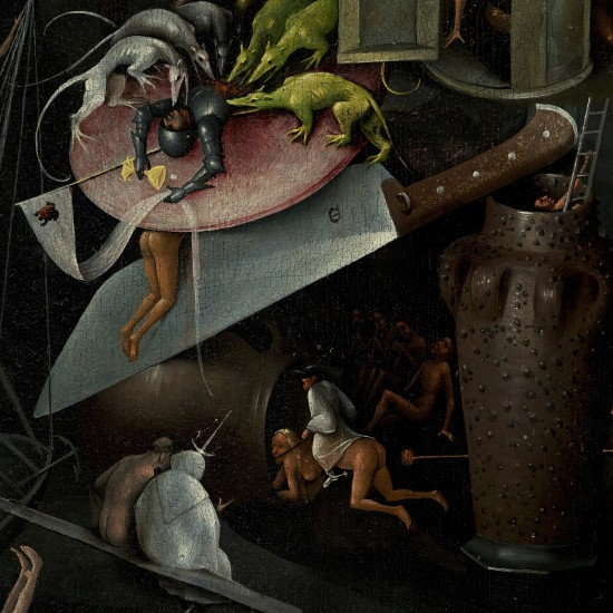 The Garden of Earthly Delights by Hieronymus Bosch: Hellscape and Divine Punishment, knife and plate