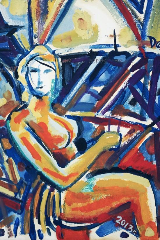 "Painting Dark blue Eiffel Tower for me ""тъмносиния айфелова кула за мен"" by Десо Замора"