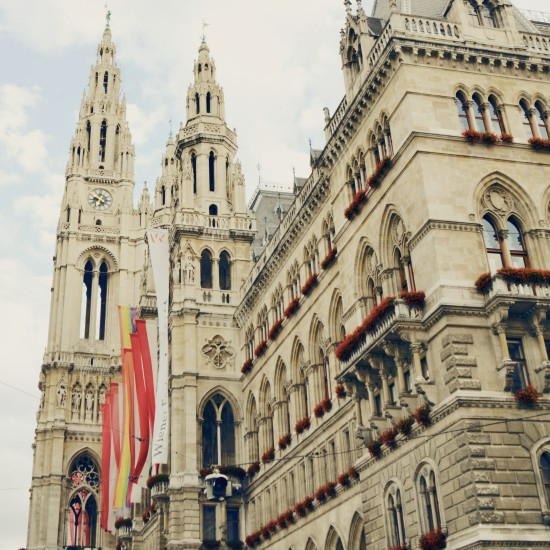 The rainbow flag at the Vienna City Hall as a sign for diversity and love @ Vienna Pride 2014 / Regenbogenparade Wien / Rathaus