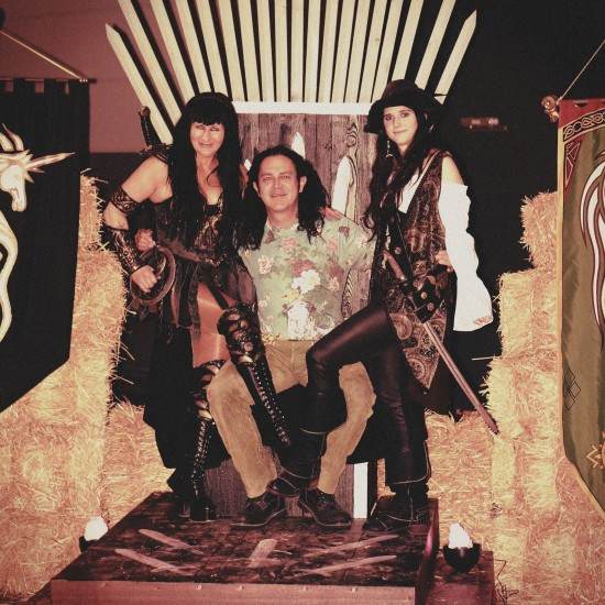 Castus from Corvus Corax with Xena and Angelica on the throne @ Mittelalterspektakel 2014 VAZ St. Pölten