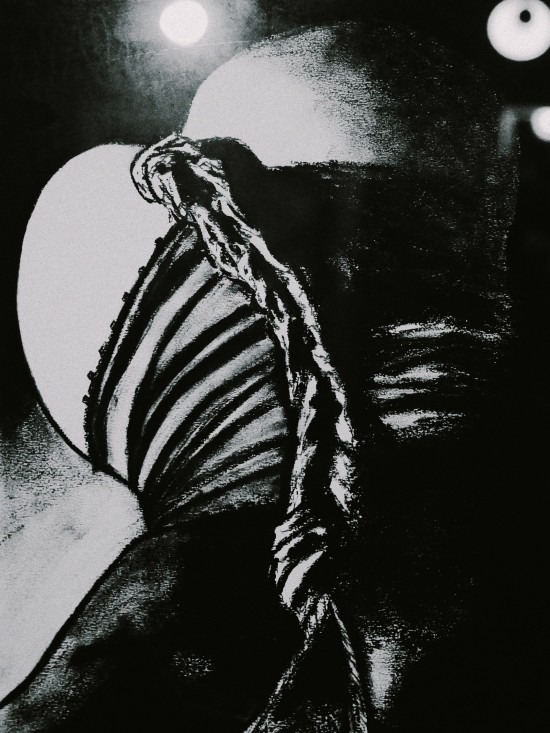 Bondage painting: bottom in ropes. 50 Shades of lisArt by Lisa Grüner.