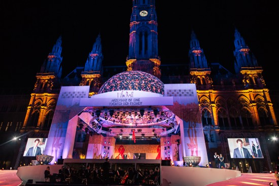 The Life Ball 2015 stage in front of the Vienna City Hall (Rathaus).