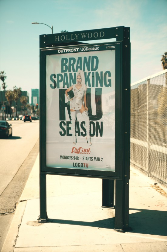 Brand Spanking RU Paul's Drag Season billboard on Sunset Boulevard, Los Angeles, California.