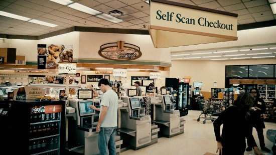 Self checkout terminals at Ralphs in Los Angeles.