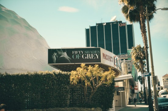 Fifty Shades Of Grey playing in the Pacific Theatres's Cinerama Dome in Los Angeles, California.