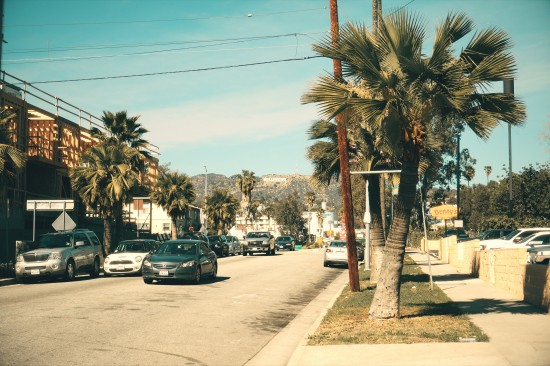 N Van Ness Avenue looking towards the Hollywood sign. On the corner Denny's on Sunset Blvd. in Los Angeles.