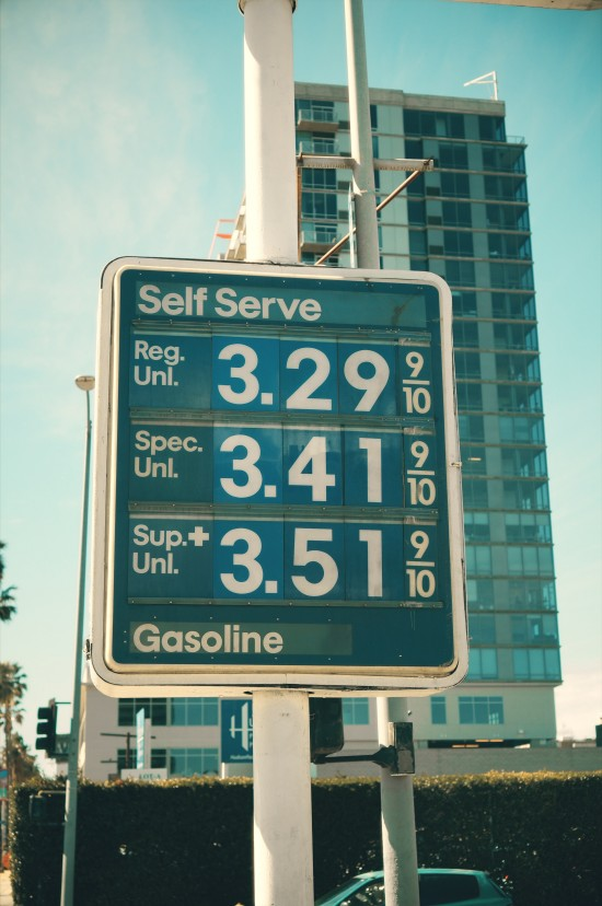 Gasoline prices as of February 24th 2015 at a gas station in Los Angeles, California.