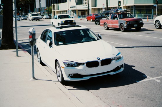BMW car without a front license plate in Los Angeles, California.