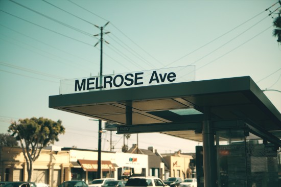 Melrose Avenue bus station, Los Angeles, California.