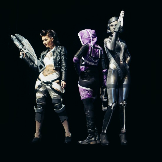 Jack, Tali'Zorah, and EDI from Mass Effect #cosplay @ Comics Salon 2014