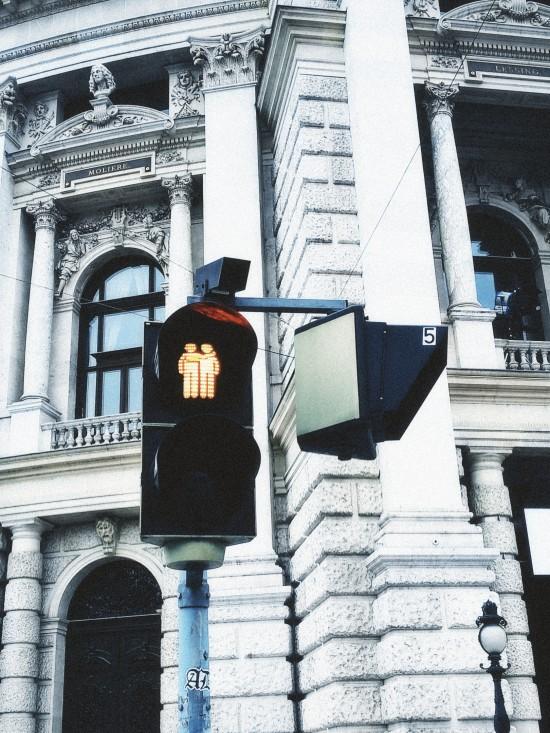"""Ampelpärchen"": Pedestrian traffic lights showing same-sex couples in Vienna."
