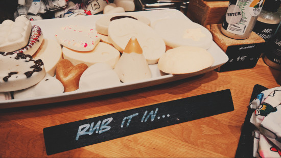Rub it in ... massage bars, cones and scrubs from LUSH Cosmetics