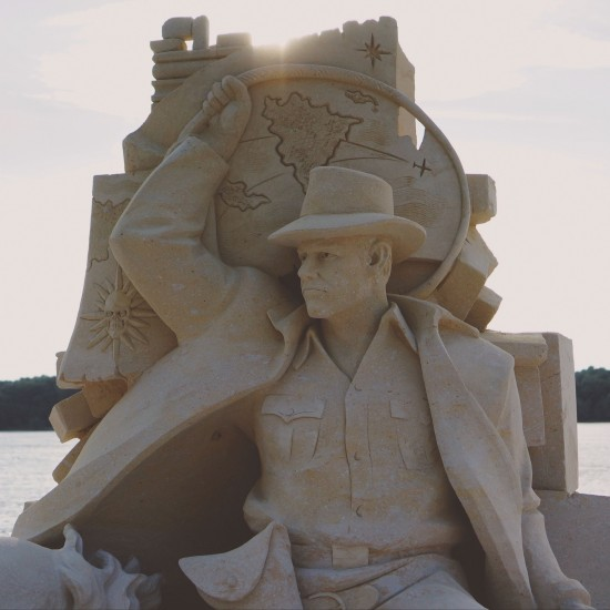 """Indiana Jones"" sand sculpture by Ilya Filimontsev (Russia)@ Ruse Sandfest 2015"