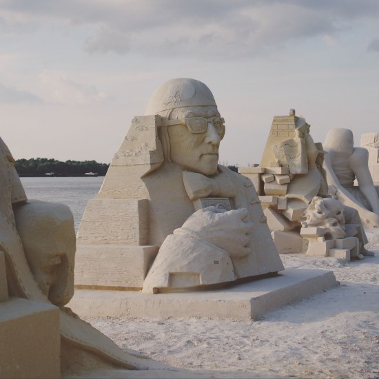 """Woody Allen"" sand sculpture by Inese Valtere-Ulande (Latvia) @ Ruse Sandfest 2015"