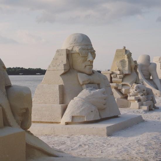 """Woody Allen"" sand sculpture by Inese Valtere-Ulande (Latvia) @ Ruse Sandfest 2015"