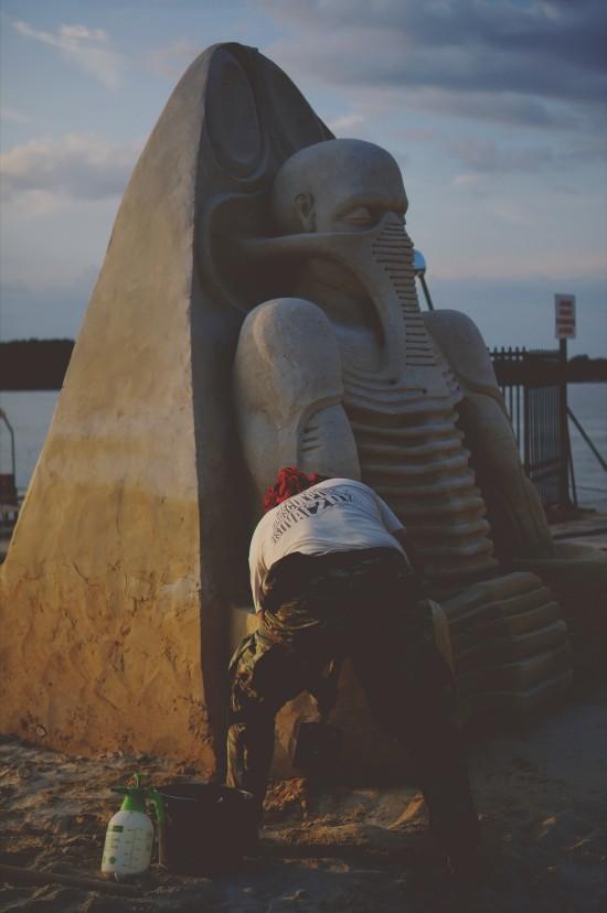 """Prometheus"" alien sand sculpture by Ruslan Korovkov (Russia) @ Ruse Sandfest 2015"