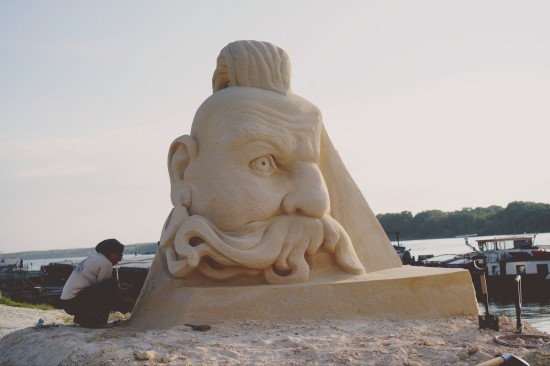 """Taras Bulba"" cossack sand sculpture by Irina Taflevskaya (Ukraine) @ Ruse Sandfest 2015"
