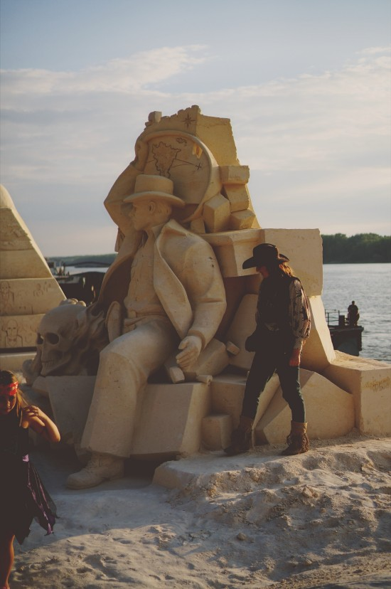 """Indiana Jones"" sand sculpture by Ilya Filimontsev (Russia) @ Ruse Sandfest 2015"