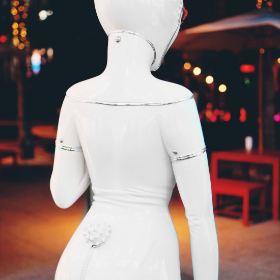 White mannequin rubber bunny @ Chilli Beans, Hollywood & Highland Center, 6801 Hollywood Blvd, Los Angeles
