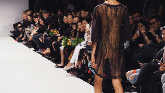 Lalalove Semi-Transparent Surprise Dress allowing a glimpe of the bare bottom @ MQ Vienna Fashion Week 2017