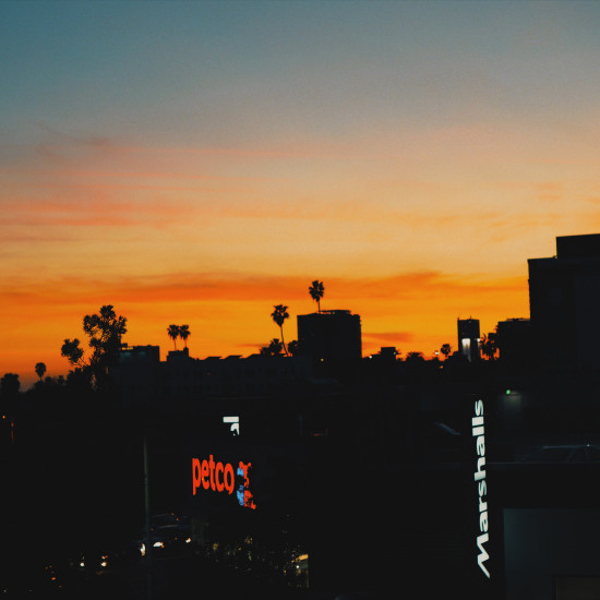 Sunset in Los Angeles, Hollywood Boulevard