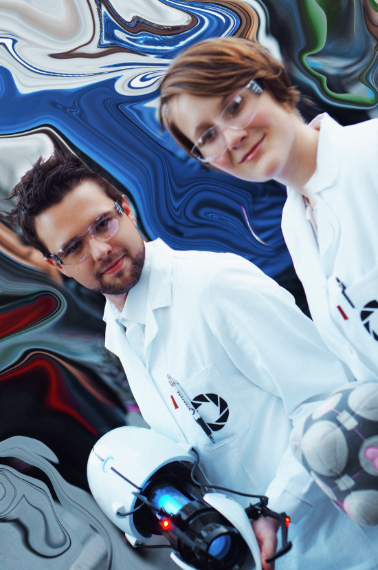Portal cosplay scientists from the Aperture Science Enrichment Center @ Vienna Game City