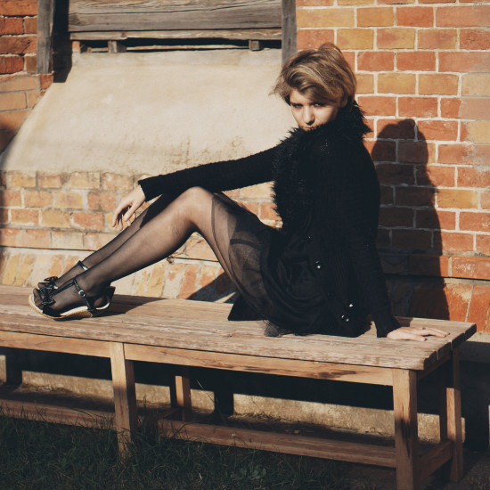 Smoking on the bench gothic photo shoot