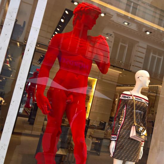 David Michelangelo Statue in the store display of FENDI in Vienna