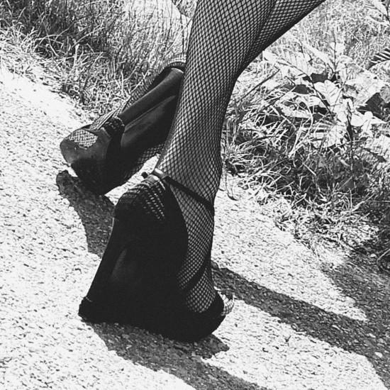 Hell Me Higher   Fashion by Chloé (hot pants)   Heels by Hugo Boss