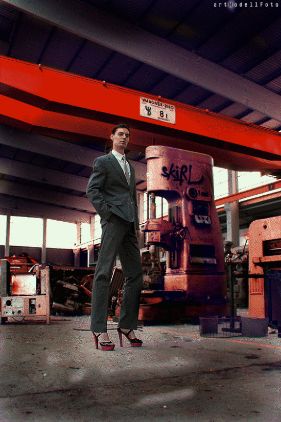 Post-Industrial Times | Photo by artModellFoto | Fashion by Benetton (suit) | Shoes by Jimmy Choo