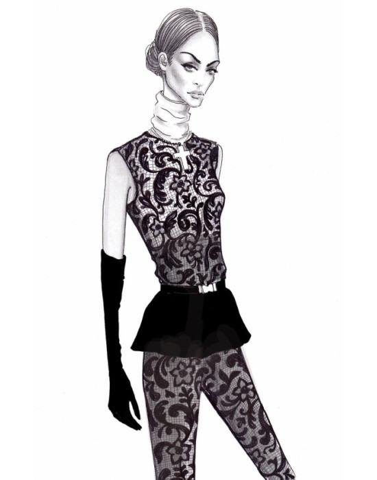 Artwork by Lena Ker: Lace Dress