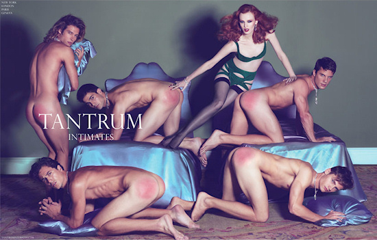 Spanked Male Models and Karen Elson: Fake Ads by Steven Meisel