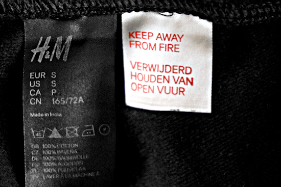 H&M Pants Funny Warning Label