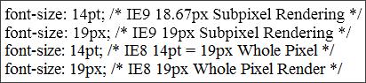 IE9 Subpixel Font Rendering vs. IE8 Whole Pixel Rendering